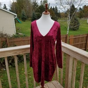 New Forever 21 Burgundy Velvet Dress